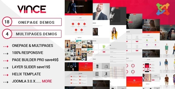 Vince One Page y Multi Page Tema multipropósito de Joomla con Page Builder - Temas de Joomla CMS