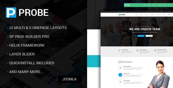 Probe - Tema Joomla multiusos sensible con creador de páginas - Joomla corporativo