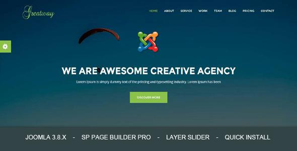 Greatway - Tema de Joomla de la Agencia de Diseño de Materiales con Page Builder - Temas de Joomla CMS