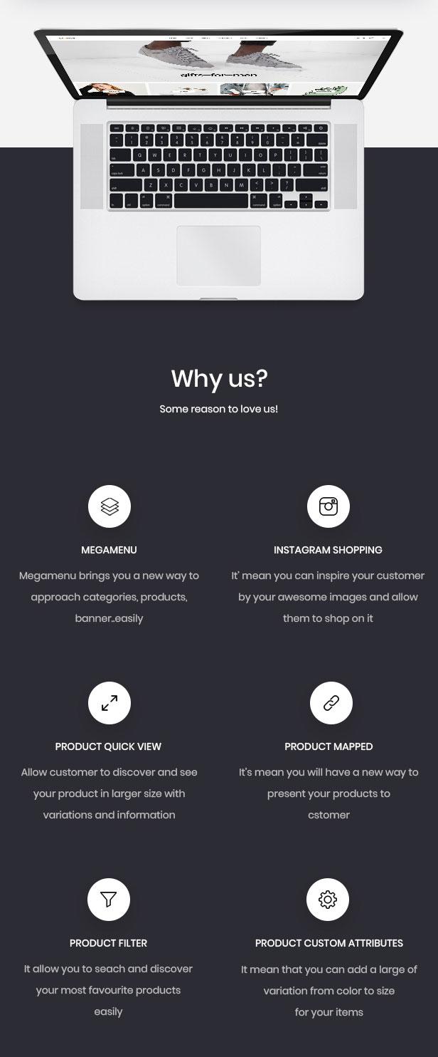Característica Leo - potente módulo para la tienda online de moda unisex.