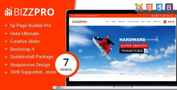 Bizzpro: tema de Joomla de varias páginas para negocios con Page Builder - Business Corporate