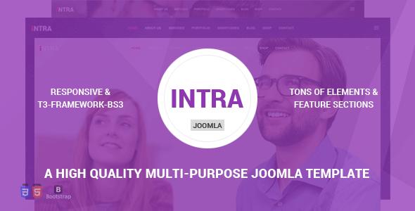 Intra - Tema Joomla multipropósito + página múltiple + Página - Empresa corporativa
