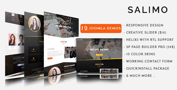 Salimo - Creative One Page Parallax Tema de Joomla con Page Builder - Empresa corporativa
