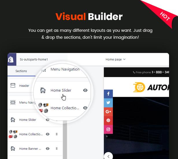 AutoPartes - Tema Shopify de moda sensible multiusos con secciones