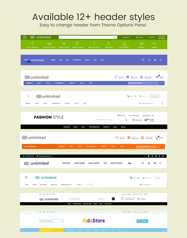 Infinit - Magento 2 y 1.9 estilos de encabezado