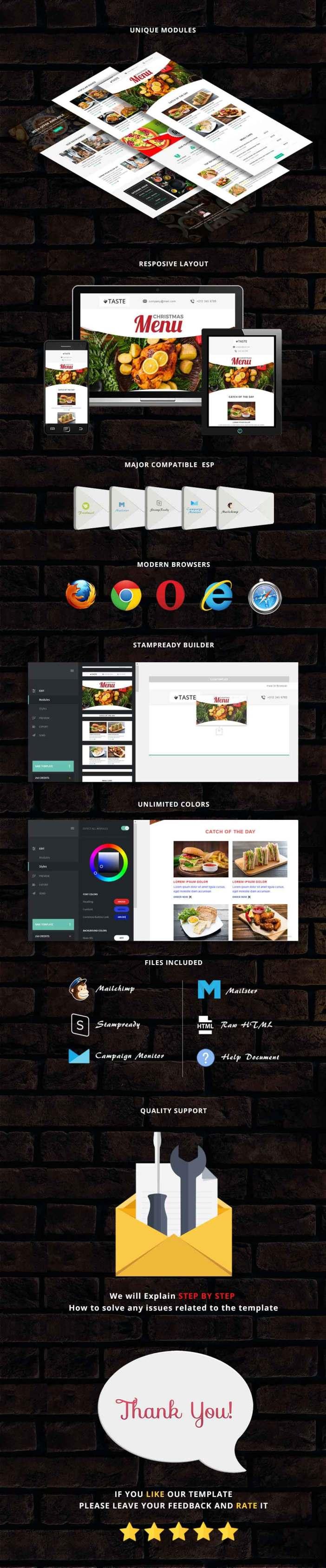 Gusto - Plantilla de correo electrónico sensible para el restaurante + Stampready Builder