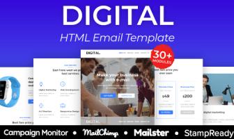 Plantilla de correo electrónico receptivo de la agencia digital 30+ módulos - StampReady + Mailster & Mailchimp Editor