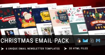Navidad: plantilla de correo electrónico receptivo de año nuevo con Mailchimp Editor y en línea StampReady Builder Acc