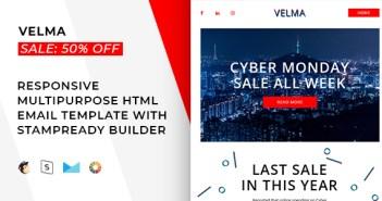 Velma - Correo electrónico receptivo + StampReady Builder & Mailchimp
