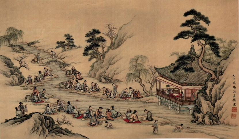 Meandering_Stream_at_Lan-ting_Yamamoto_Jakurin_Hanging_scroll_color_on_silk