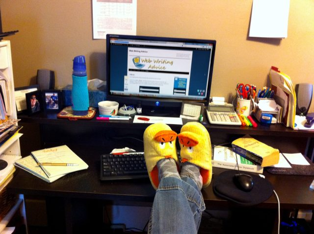I can't complain about working in my yellow ducky slippers or taking a lunch break in the backyard with my pups. But, working from home has challenges. I'm prone to writer's butt and hermit habits.