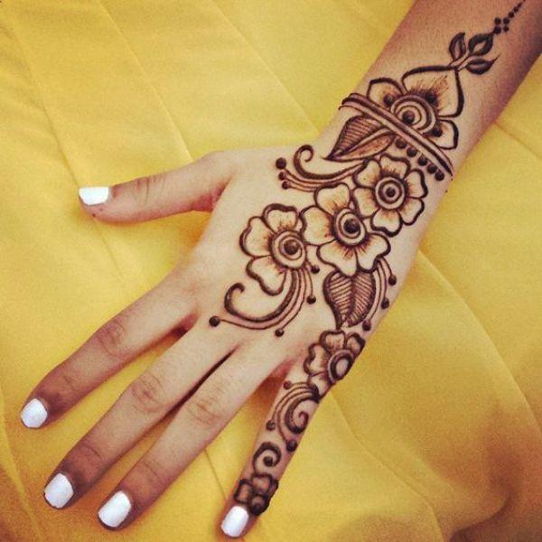 30.Three flower back henna design