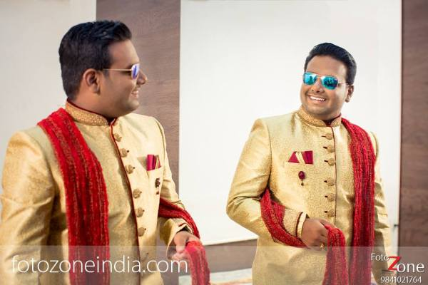 4.Golden Red Sherwani