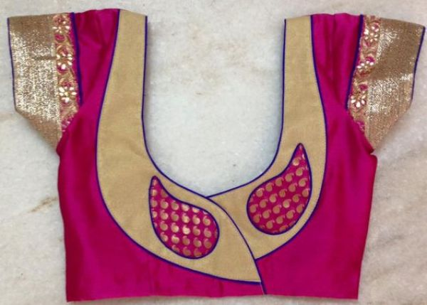36.Pink with gold Work Blouse