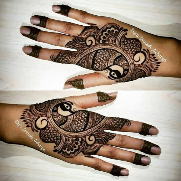 26.Arabic Peacock Henna Design