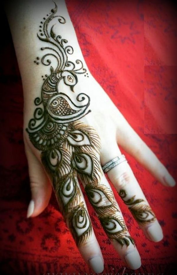 6.Single Finger Peacock Mehndi Design