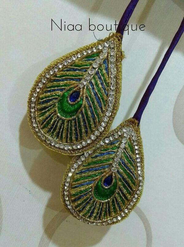 4.peacock feather design tassel