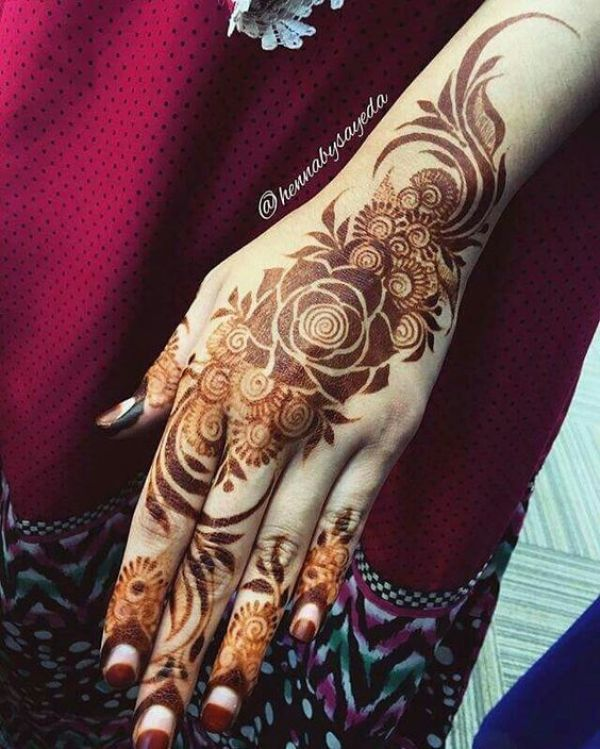 28.Rose Mehndi design #28