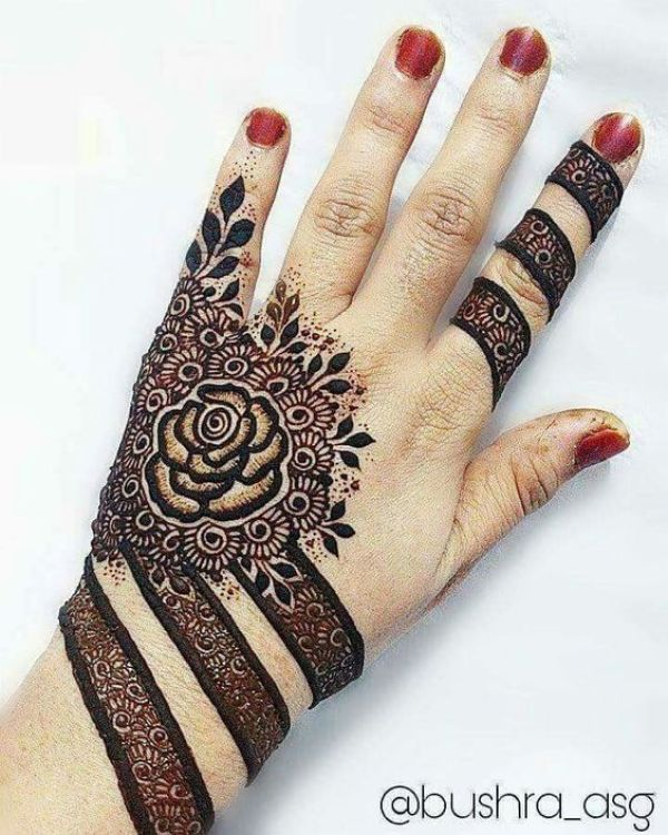 46.Rose Mehndi design #46