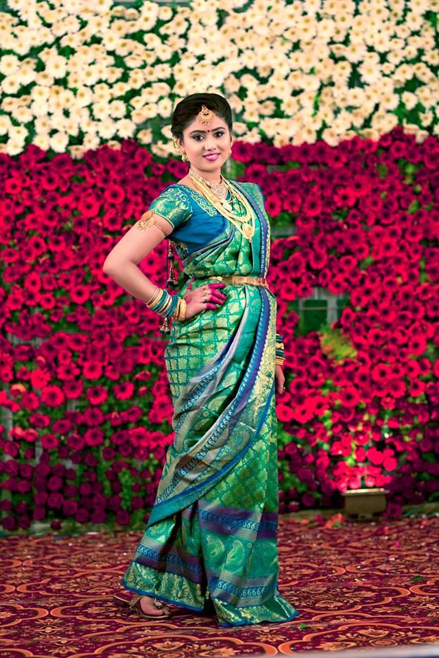 Green Silk Saree With Royal Blue Border Photo Gallery Wedandbeyond Com