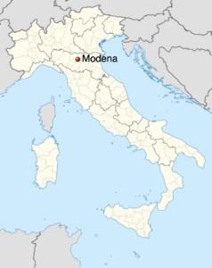 Carte de l'Italie indiquant Modène en Émilie-Romagne