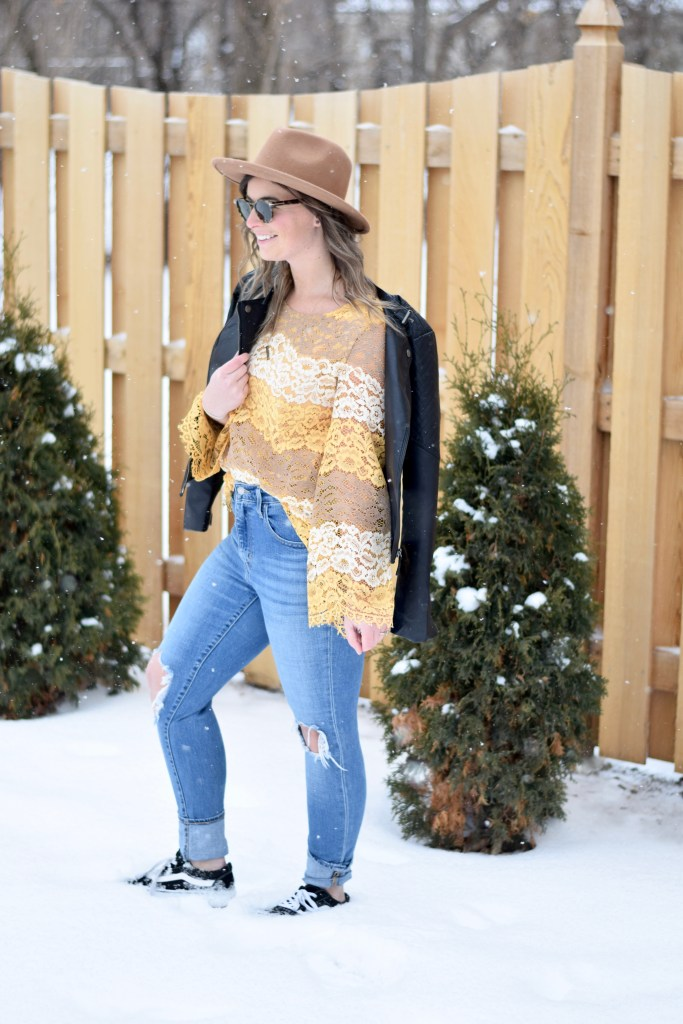 Channeling Sunny Weather in this Yellow Lace Top
