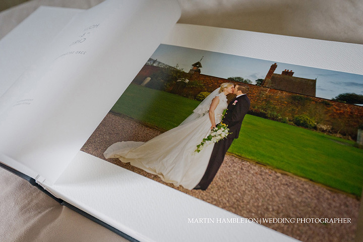 Opening page of Queensberry Duo wedding album showing vellum flyleaf