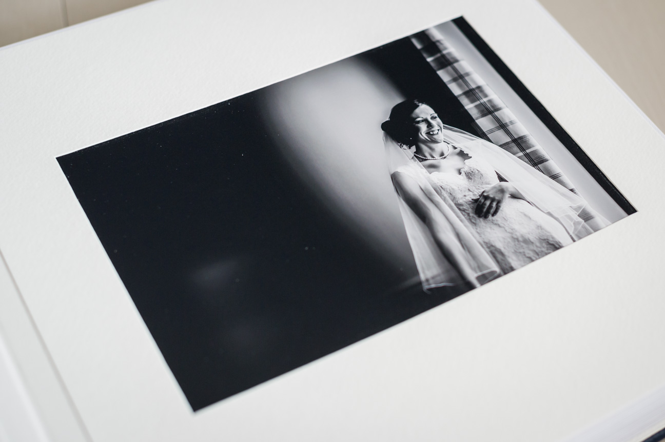 black and white print of bride in queensberry wedding album