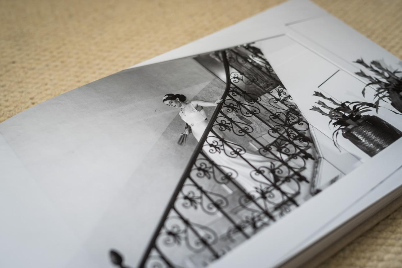 close up of printed page in jorgensen komplet fine art wedding album