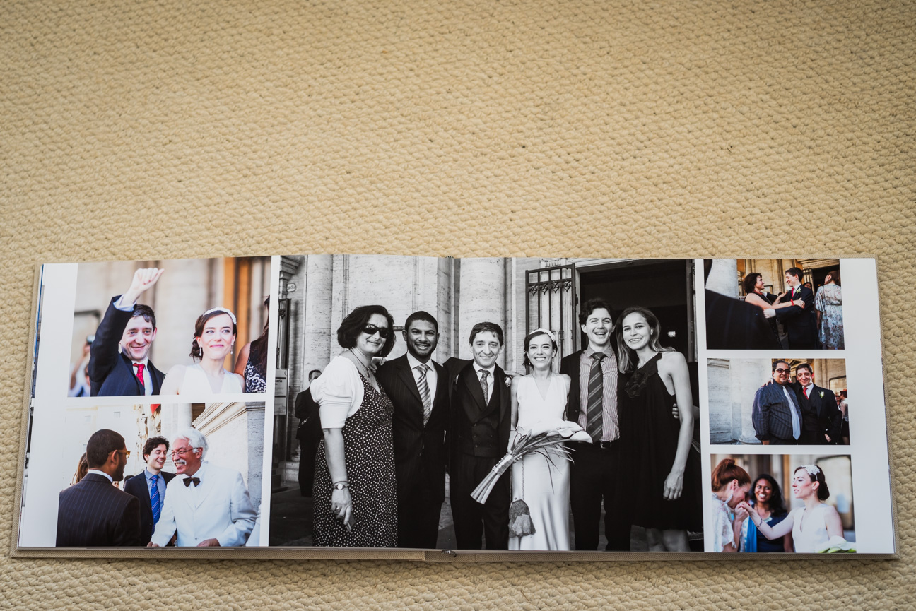 open book view of jorgensen komplet fine art wedding album