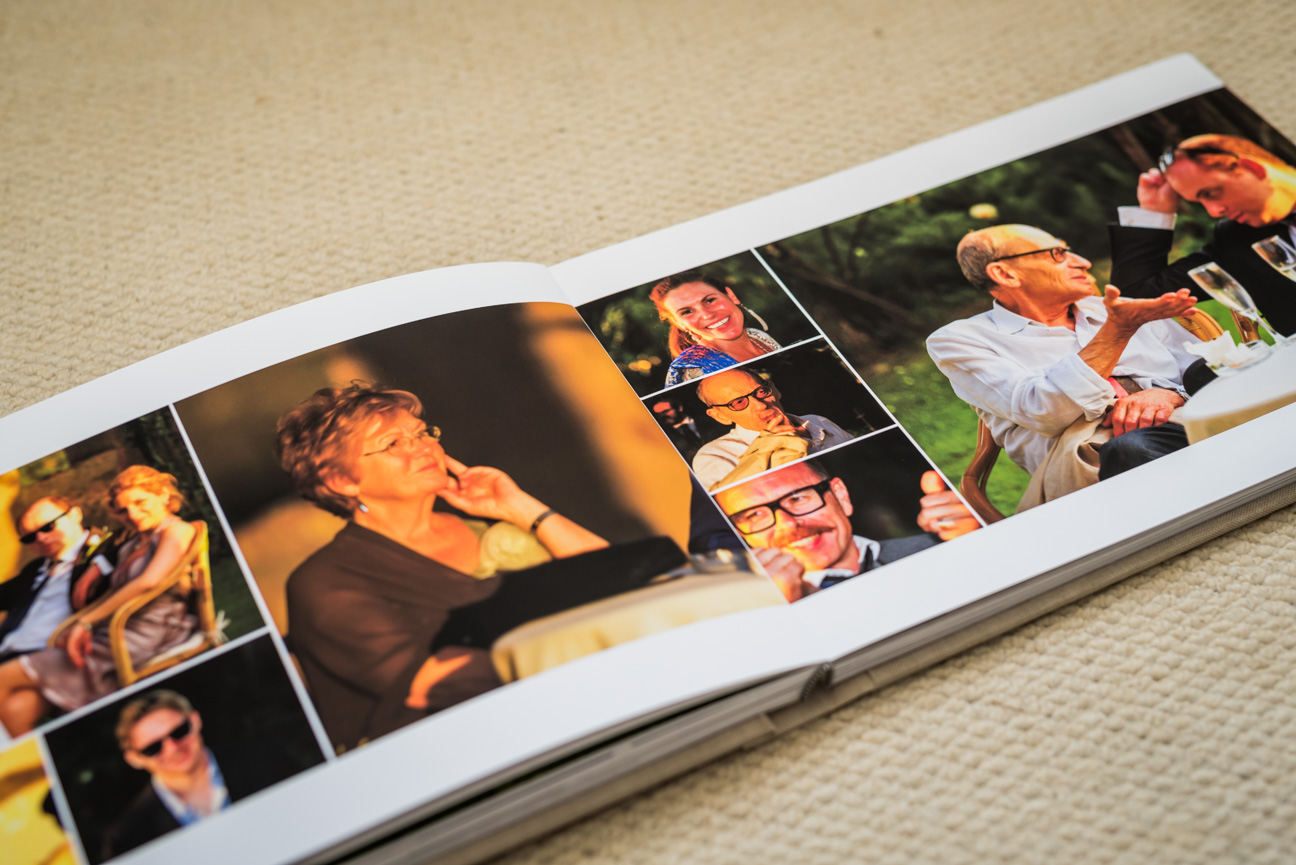 double spread in fine art wedding album by jorgensen