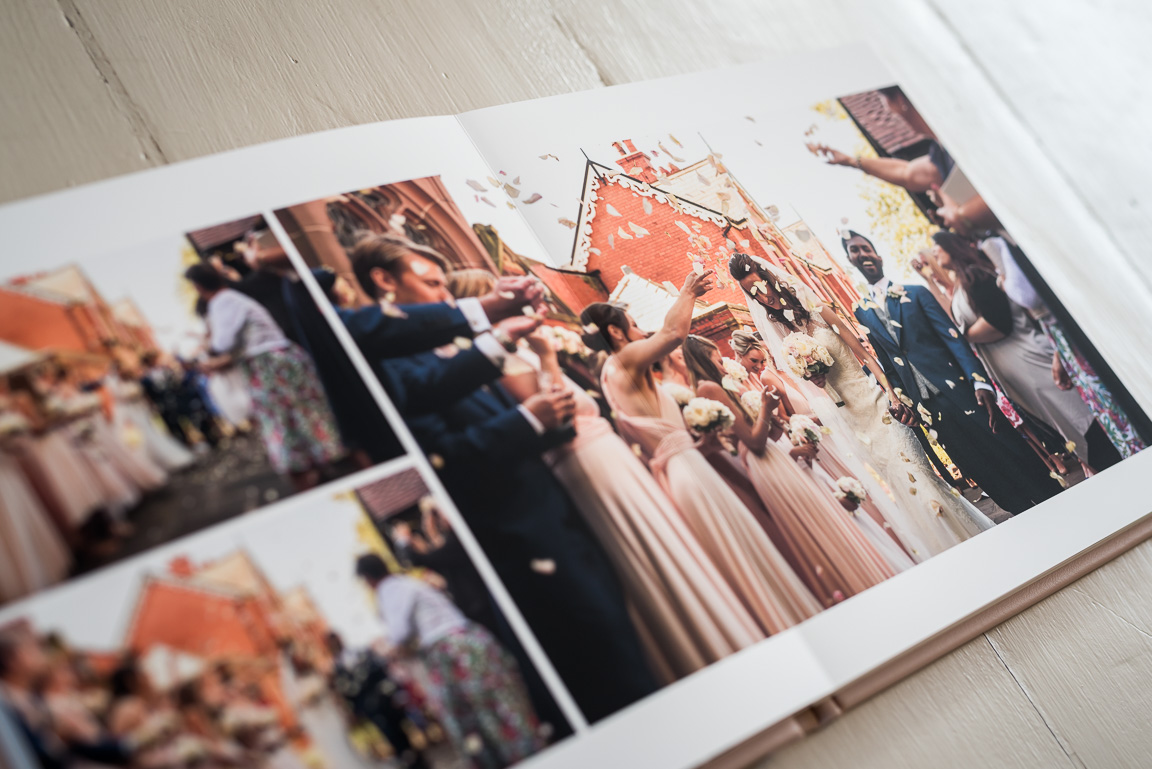 wedding album spread of confetti throw