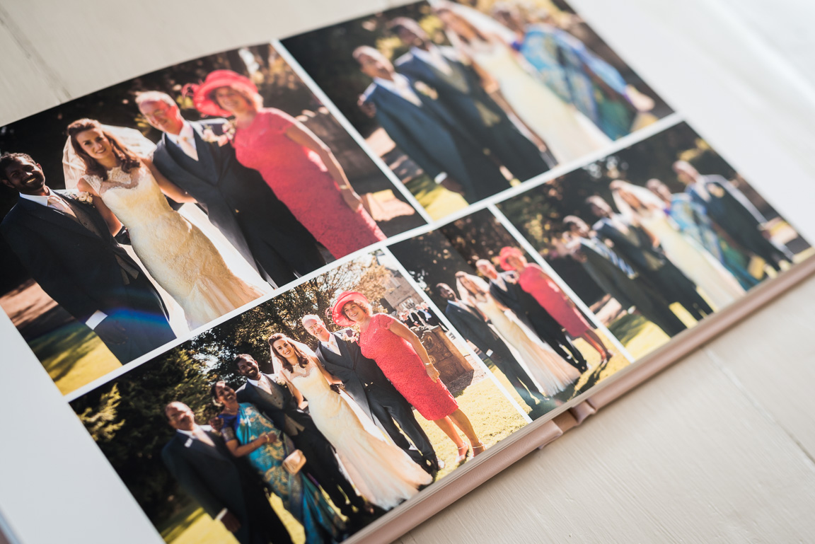 formal group photos in wedding album