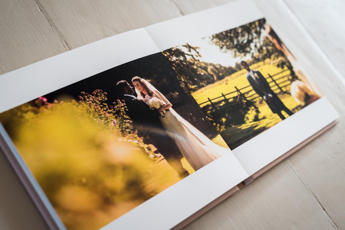 colour wedding portraits in wedding album