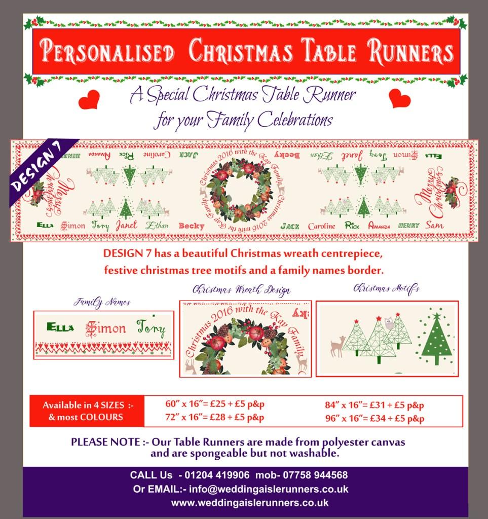 personalised christmas table runner