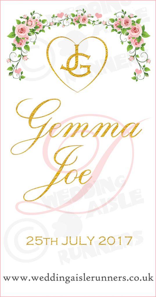 Gemma and Joe's altar end design on their wedding aisle runner