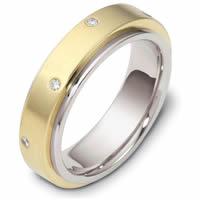 117681PP Platinum Diamond Wedding Band Rotating Center