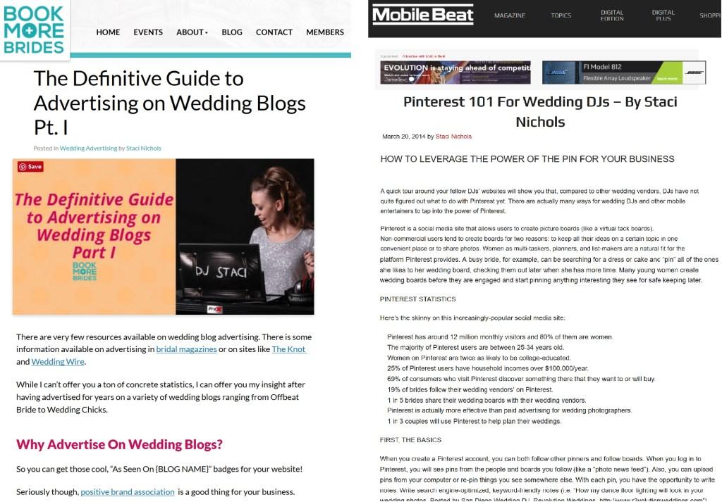 Wedding Biz Consultant Articles