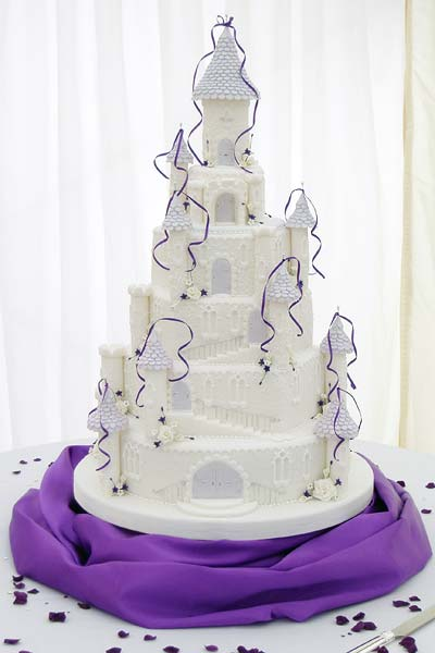 Wedding Cakes in Kent   Cakes Galore in Kent Purple fairy castle wedding cake
