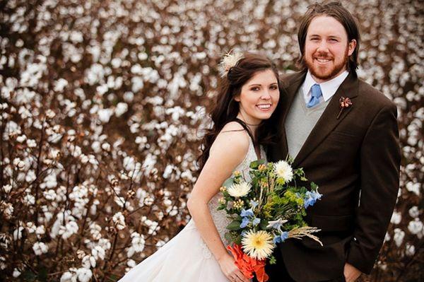 brown-blue-orange-wedding-color-palette-cotton-field-wedding-photos