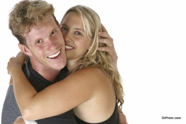 Couple Hugging Smiling