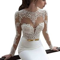Ok Dress Women's Long Sleeve Lace Mermaid Wedding Dresses 2015 Backless Bridal Gowns on sale