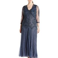 Pisarro Nights Women's Plus-Size Long Beaded Jacket Dress