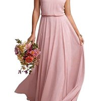 EverLove Women's Long Spaghetti Straps Prom Dress Chiffon Bridesmaid Dresses