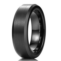 King Will 6mm Black Tungsten Wedding Band Ring Matte Finish Polished Edge Comfort Fit