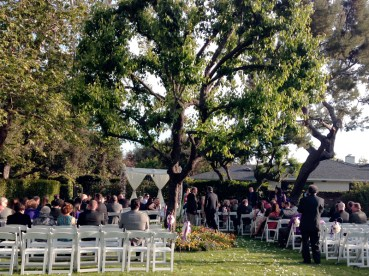 Wedding ceremony in the front yard at sunset. This is what we found when we walked in the driveway entrance.