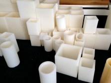 Candle luminaries in a variety of shapes and sizes.