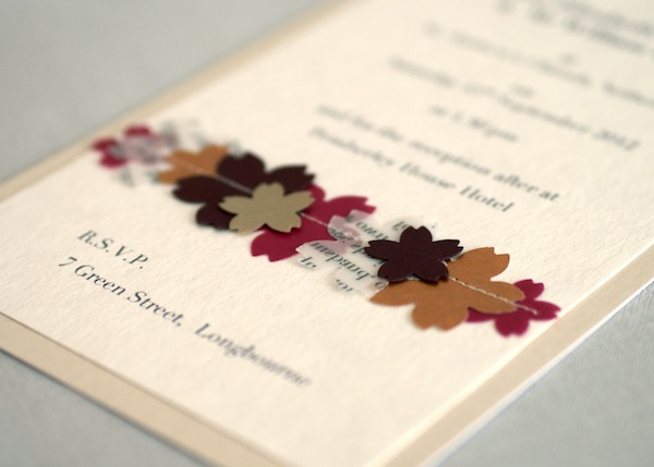 Handmade Vintage Pocketfold Wedding Invitation