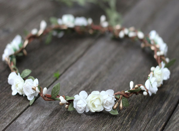 Ivory And White Flower Crown Gold Bridal Floral Crown