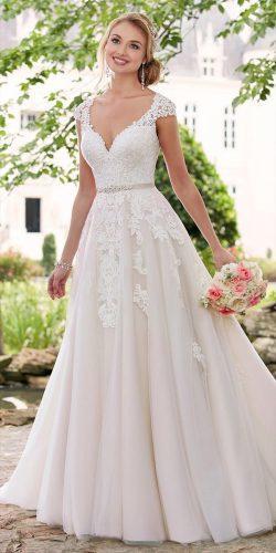 romantic lace cap sleeve sweetheart neckline a line wedding dresses stella york